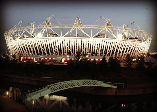 The Olympic Stadium at dusk