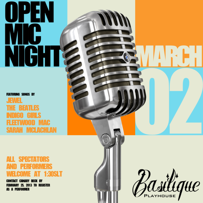 Basilique Open Mic Night Poster