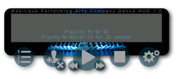 Introducing the all-new Basilique Performing Arts Company Dance HUD. The ideal high-performance dance HUD built especially for dance performers. The HUD was scripted by Harvey Crabsticks. I designed the user interface.