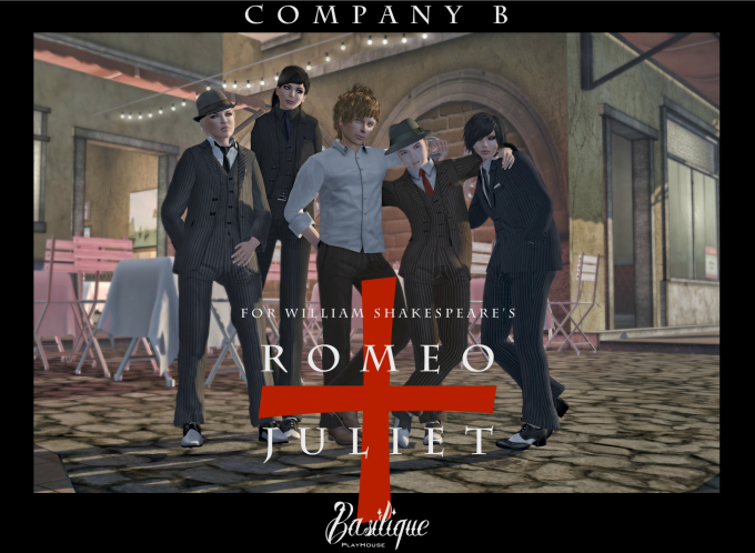 Romeo + Juliet - Company B - (Left to Right) Gwen Cosgrove as Paris, Trixi Violet as Tybalt, Harvey Crabsticks (Stage Manager), Canary Beck as Romeo and Syn Wytchwood as Mercutio