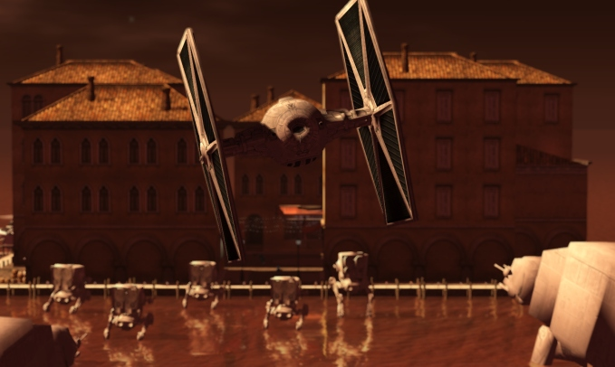 A TIE Starfighter swooping in for an attack run