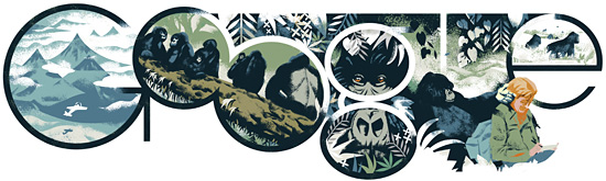 In remembrance of Dian Fossey - Image from Google Doodle, January 16, 2014