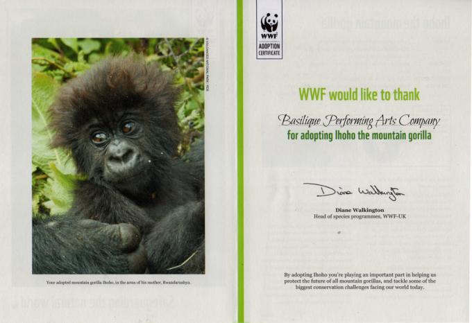 Our Adoption Certificate from WWF