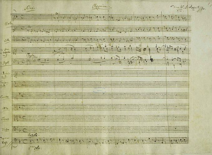 A section of a page from the manuscript of W.A. Mozart's Requiem, K 626. (1791), showing Mozart's heading for the first movement. It was supposedly written for his own funeral.