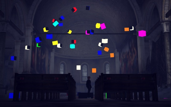 Blocked choreography for Domine Jesu - Each coloured block represents and individual character's movements through the scene.