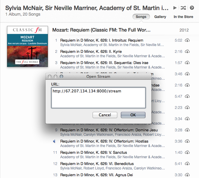 Opening an internet music stream in iTunes
