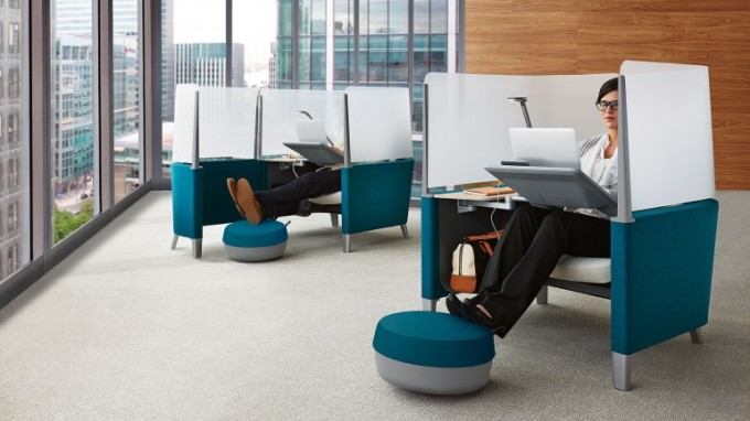 The Brody WorkLounge is available in various finishes and configurations, some of which include a foot rest