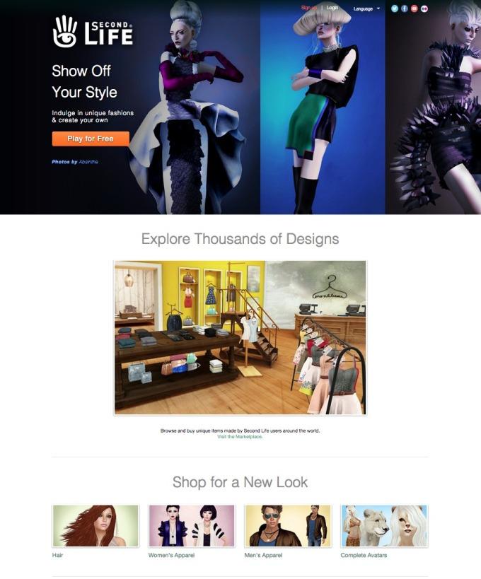 Second Life Fashion Landing Page