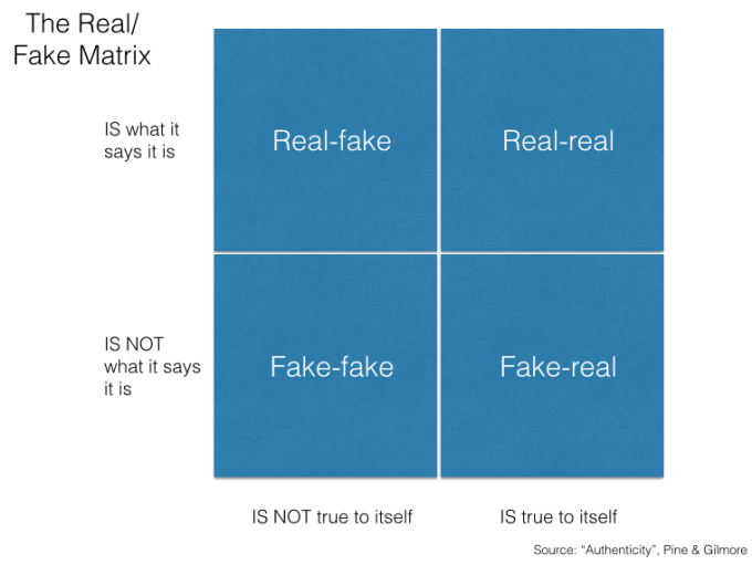 The Experience Real:Fake Matrix
